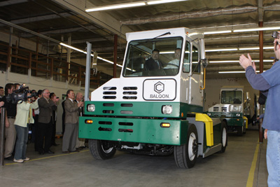 Mayor Driving Electric Truck