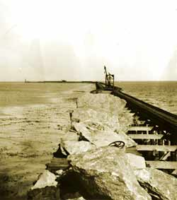 Breakwater construction during the early 1900s.