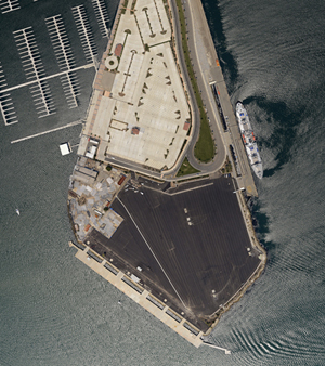 Aerial view of Berth 46 at the Port of Los Angeles